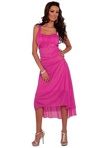 Donna una spalla senza maniche formale damigella vestito da sera o festa H1319, fucsia