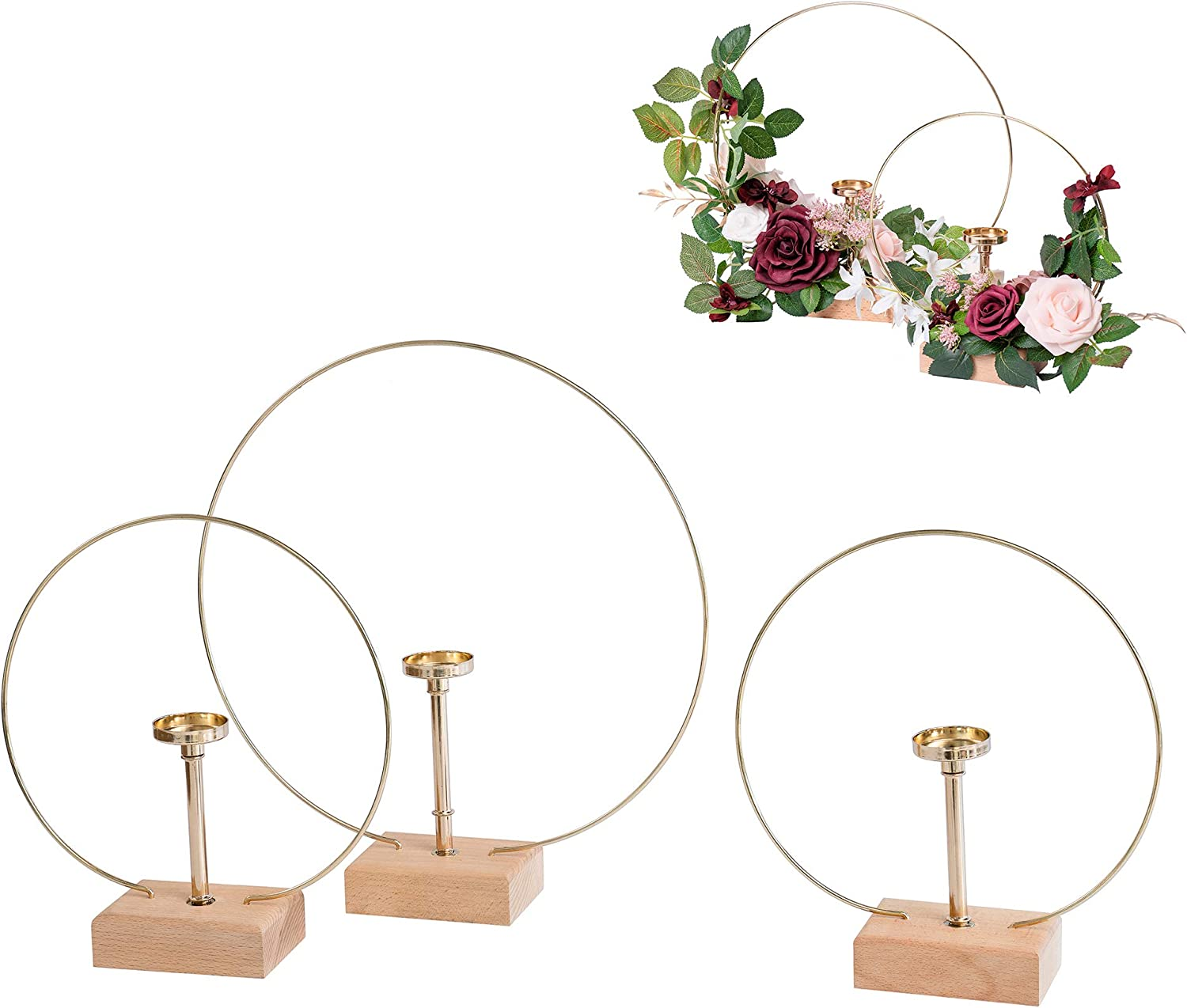 Ling's moment Handcrafted Candle Holder Hoop Wreath Centerpieces for Sweetheart Table, Head Table, Ceremony Reception Decorations (Set of 3)