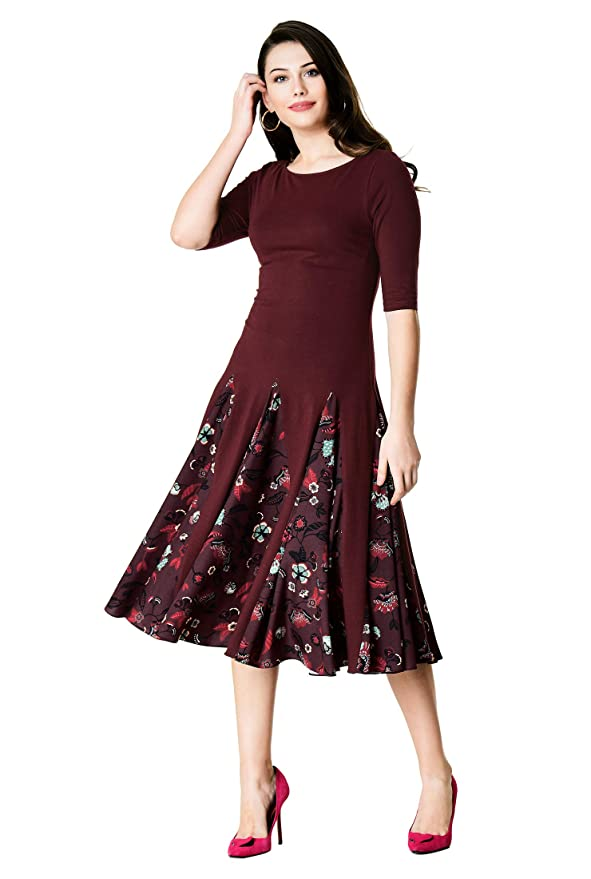 Old Fashioned Dresses | Old Dress Styles eShakti FX Floral Print Crepe Godet Cotton Knit Dress - Customizable Neckline Sleeve $99.95 AT vintagedancer.com