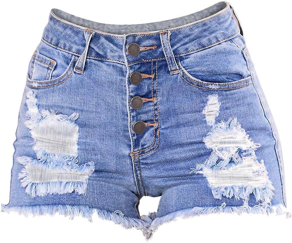 Women Ladies Ripped Vintage High Waist Stretch Denim Jeans Shorts Hotpants 6-16