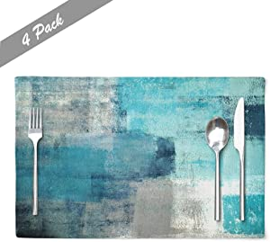 Modern Art Placemats, Cafe Placemats Turquoise and Grey Abstract Art Painting Artwork Dining Placemats Colorful Placemats for Home Kitchen Decorations 18 x 12 Inches, Turquoise Grey