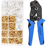 Wire Terminal Crimping Tool Kit, Qibaok Ratcheting Wire Crimper AWG 22-16(0.5-1.5mm²) with 500PCS Female Male Spade Connector