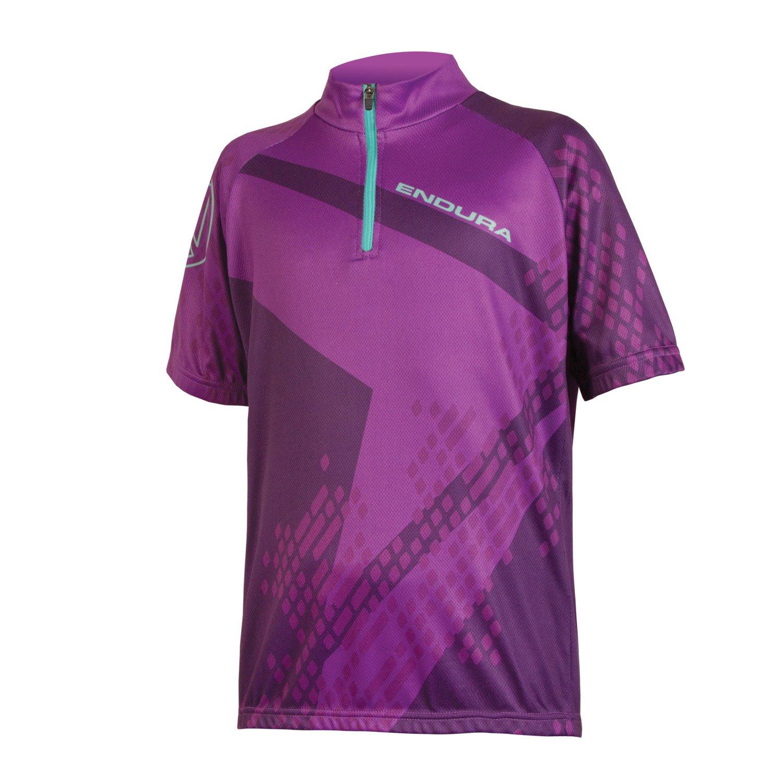 Endura Kids Ray Short Sleeve Cycling Jersey Purple, Large