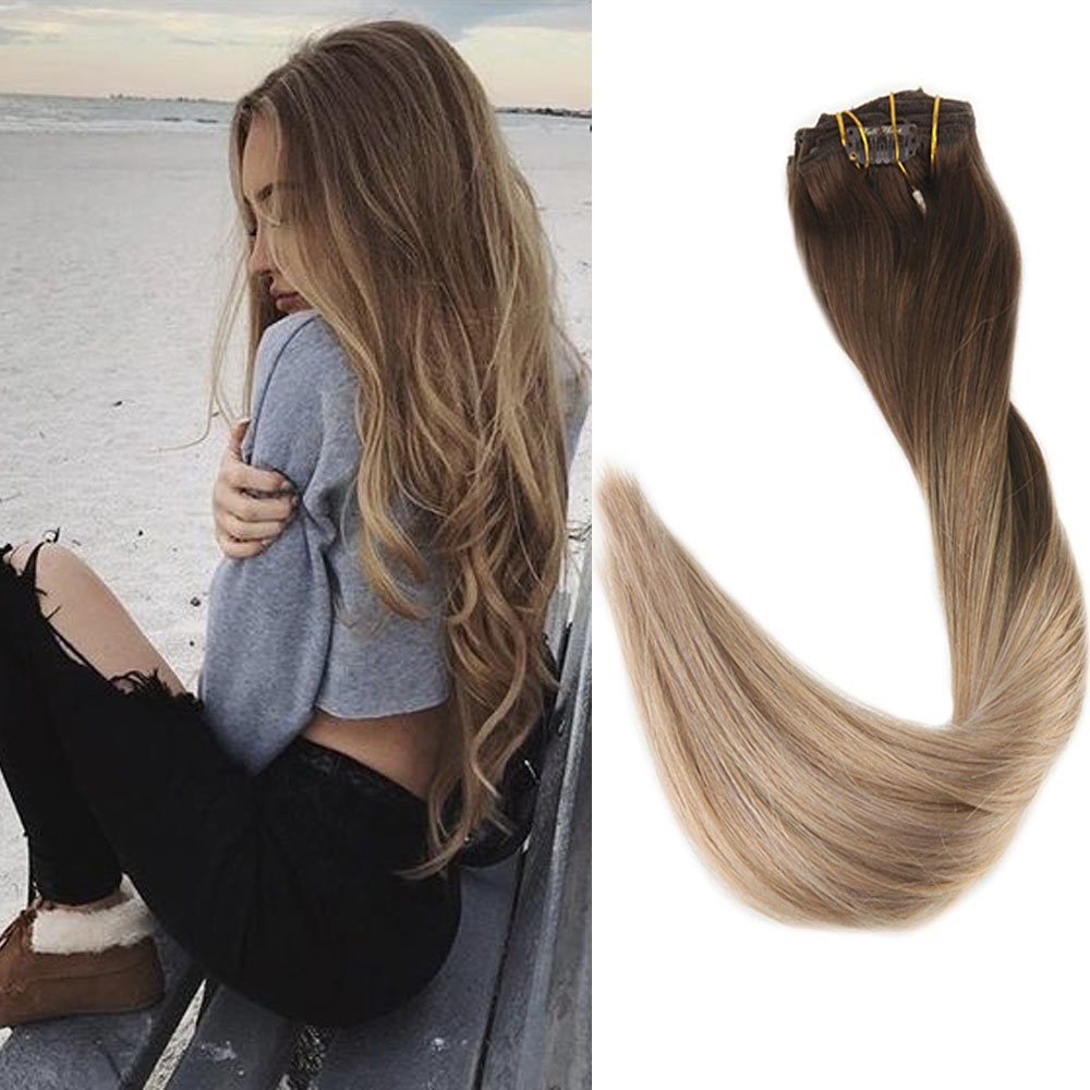 Full Shine 18 100gram 10 Pcs Balayage Clip Hair Extensions Real Human Hair Color #8 Fading to #60 And #18 Real Hair Blonde Balayage Hair Extensions Clip in Remy Human Hair Extensions LTD