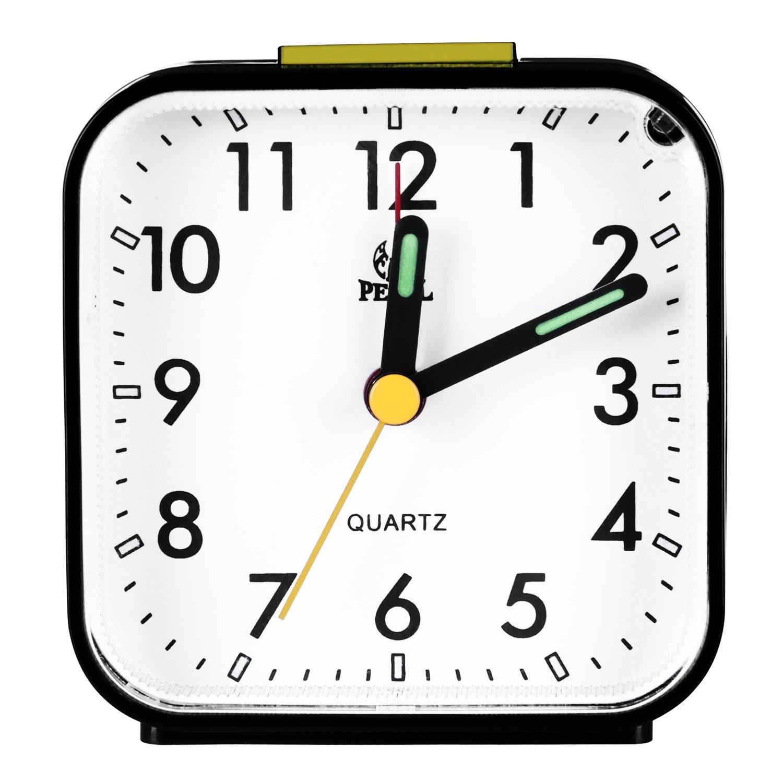 Pingenaneer Despertador Analógico con Luz Nocturna, Sonido Ascendente, Alarma Acústico, Configuración Sencilla, no Hace Tic-TAC Negro