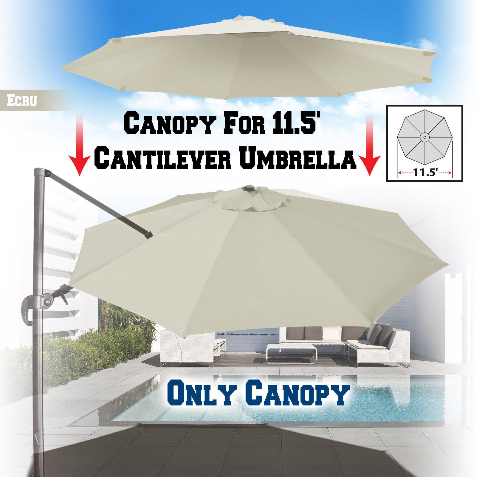 BenefitUSA Replacement Canopy for 11.5' Roma Cantilever Patio Umbrella Parasol Top Cover (Ecru)