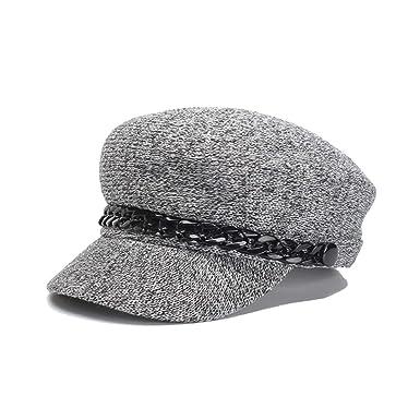 2b92b4d9127a2 Baker boy Cap Newsboy Cap Chain Purple Cotton British Military Hat Ladies  Elegant Vintage Stylish Casual Baker Boy Hat Cap at Amazon Women s Clothing  store
