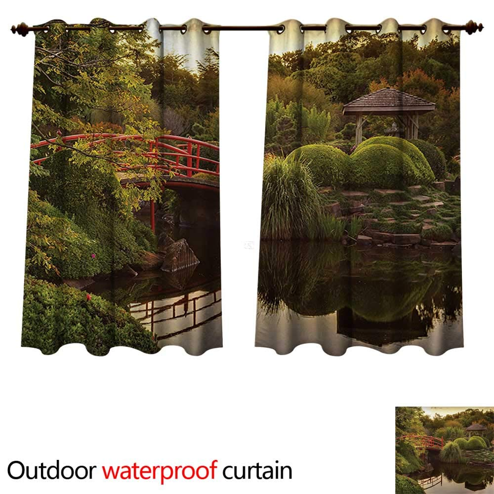 WilliamsDecor Japanese 0utdoor Curtains for Patio Waterproof Peaceful Garden in Twilight with Reflections in Water Red Bridge on Pond Sunset W84 x L72(214cm x 183cm)