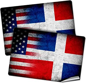 """ExpressItBest Two 2""""x3"""" Decals/Stickers with Flag of Dominican Republic - Rustic w USA Flag - Long Lasting Premium Quality"""