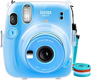 SAIKA Crystal Case for Fujifilm Instax Mini 11 Instant Film Camera with Cute Adjustable Strap (Clear)