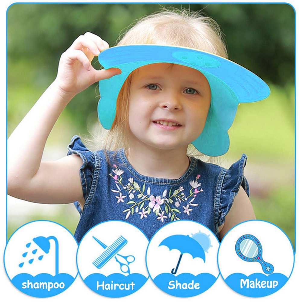 Blau LeRan Adjustable Shampoo Hats Soft Silicone Bathing Protector Cap Suitable for Adults or Kids