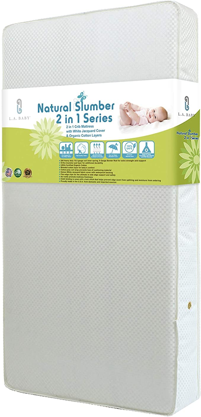 LA Baby Naturally Superior 2-in-1 Dual Sided Spring Crib & Toddler Mattress
