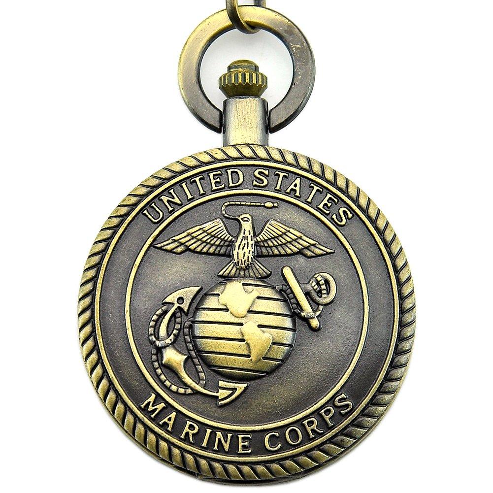 Engraved United States Marine Corps Mark Pocket Quartz Men's Watch Waist Chain with Gift Box