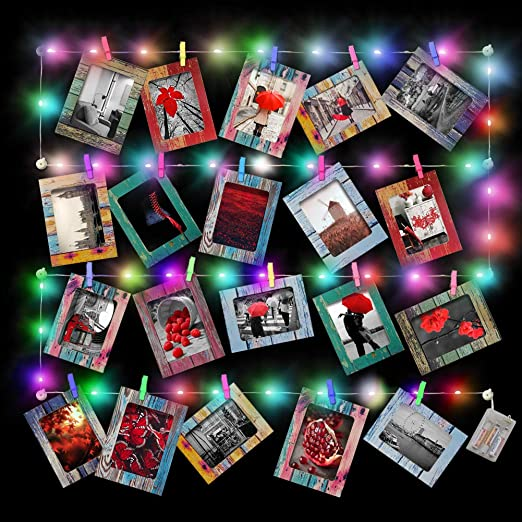 Office Colors Wall Deco Hanging Picture Frames with Clips and Ropes Fits 4x 6 Pictures 30pcs for Home,College Chosky DIY Paper Photo Frame Multi
