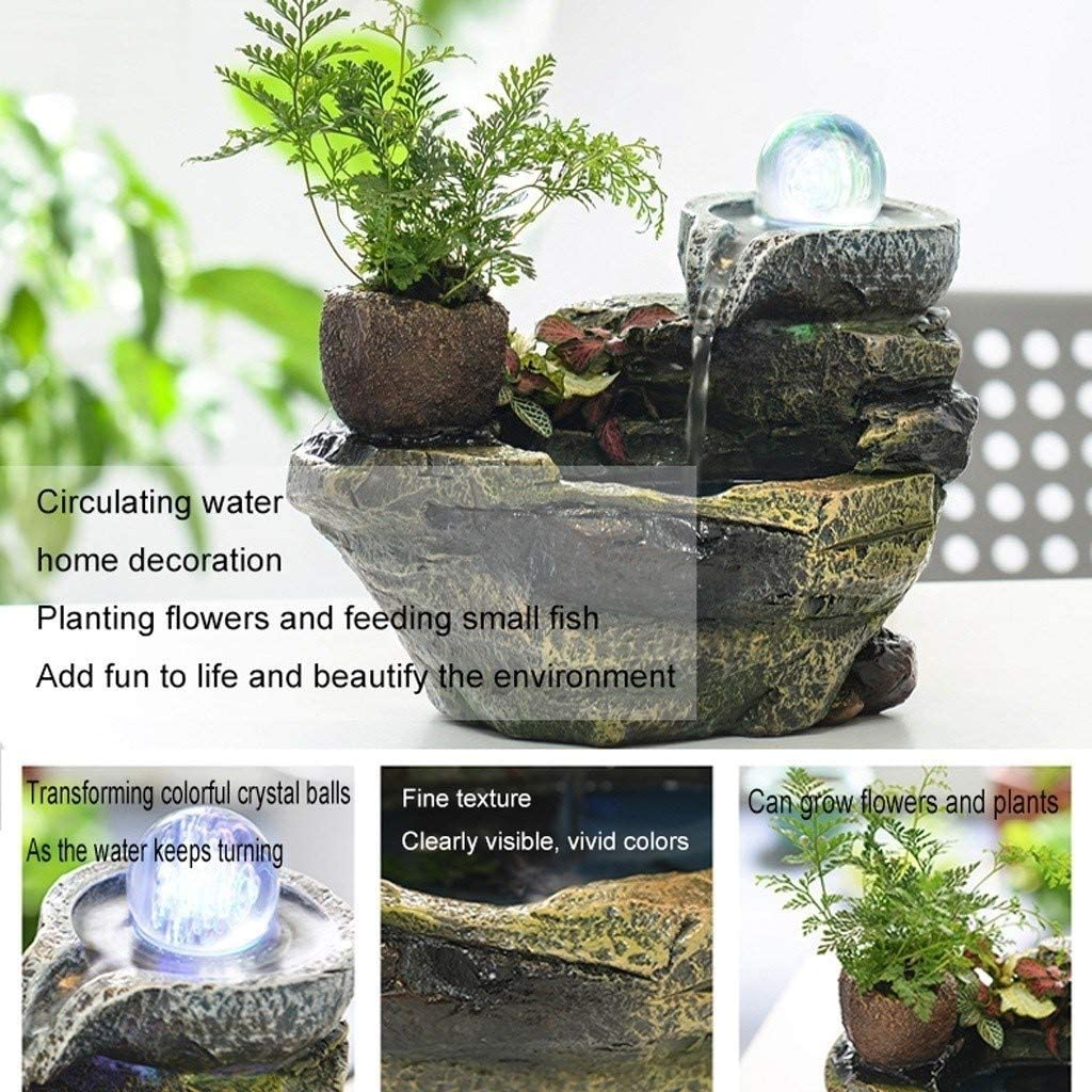 Color : A LEZDPP Indoor Rockery Water Fountain Decoration Fish Pond Feng Shui Round Office Small Desktop Bonsai Gift 22 15 18cm