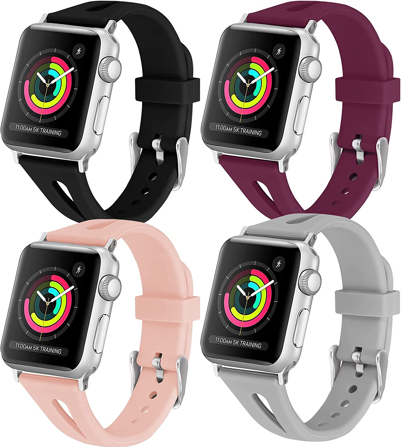 iHillon 4 Pack Compatible with Apple Watch Bands Men Women 44mm 42mm 40mm 38mm, Soft Silicone Slim Sport Replacement Wristbands Compatible with Apple Watch Series 6/5/4/3/2/1/SE