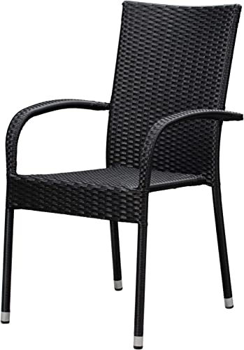 Patio Sense Morgan Outdoor Wicker Chair Set of 4 Black Steel Powder Coated Frame No Assembly Lightweight and Portable Zero Maintenance For Indoors, Porch, Backyard, Lawn, Garden, Balcony