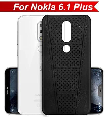 hot sale online ee748 a7c13 Knotyy Hard TPU Leather Textured Back Cover for Nokia 6.1 Plus (Black)