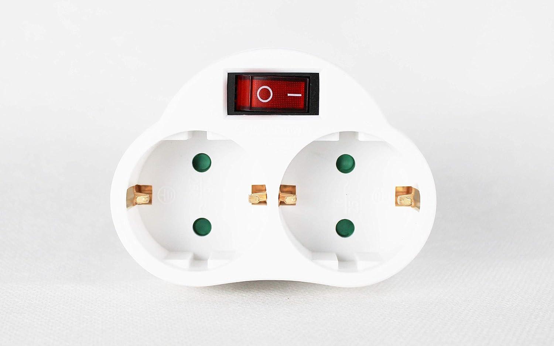 Enchufe con interruptor Schuko conector | 2 capas de enchufe doble en blanco, conector doble vertical – Vertical (1)
