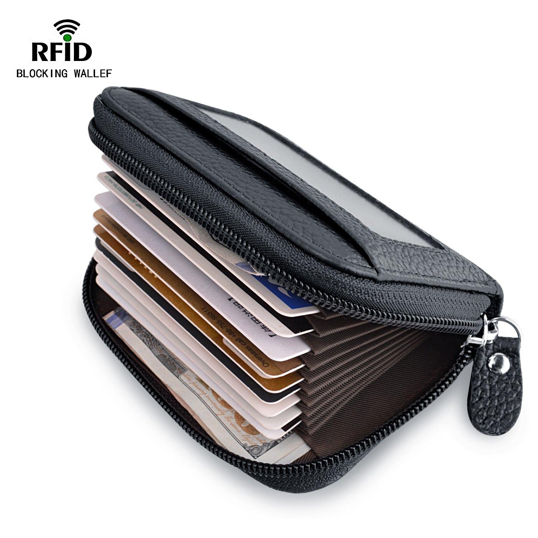 MaxGear RFIDブロックウォレット クレジットカードホルダー クレジットカード財布 本革ウォレット B01MZ8D0R2 Accordion-Wallet-KB-black Accordion-Wallet-KB-black