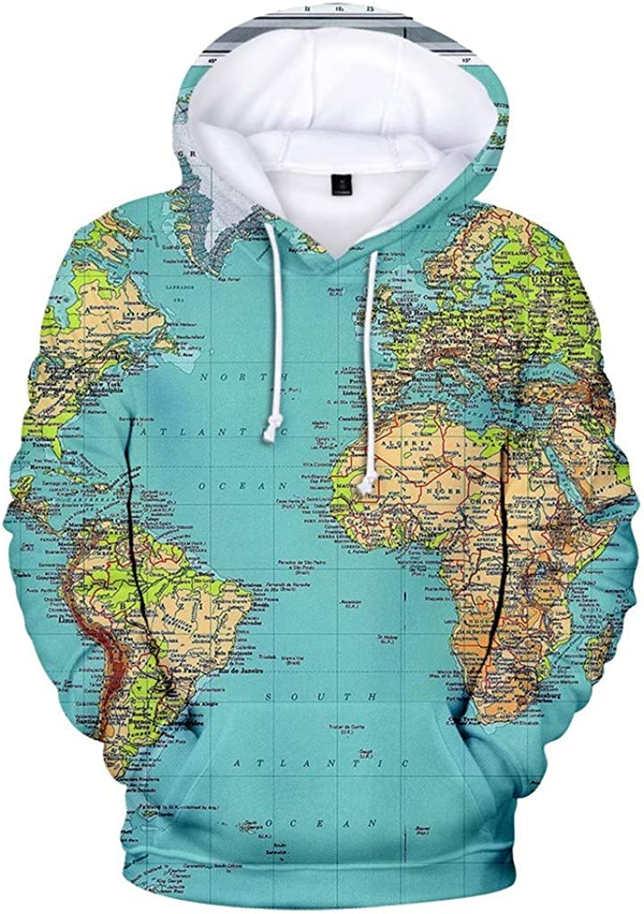 Eoeth Drawstring Hoodie for Womens Autumn Long Sleeve O Neck World Map Printing Casual Hooded Sweatshirt with Pocket Tops