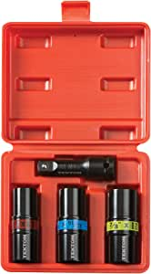 TEKTON 4950 1/2-Inch Drive Lug Nut Service Tool Flip Impact Socket Set, Inch/Metric, 4-Piece