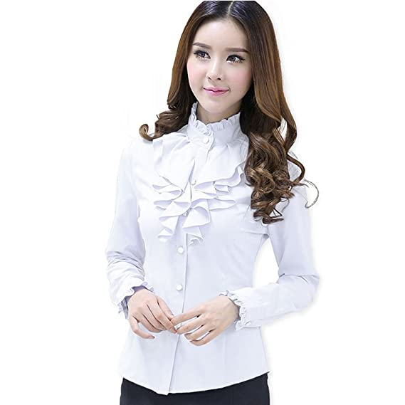 Alaine Fashion Female Full Sleeve Women Casual Shirt Office Elegant Rose  Ruffled Collar Blouse Ladies Tops Autumn Wear White in Medium  Amazon.in   Clothing ... f71f92ca2