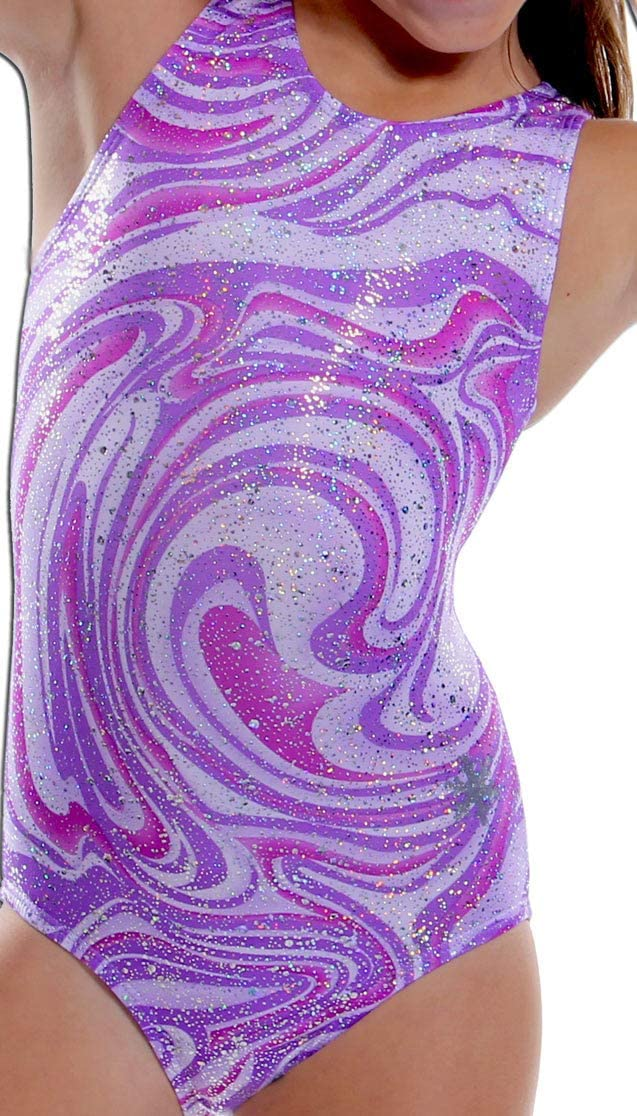 PURPLE GRAY SWIRLS on LEOTARD or SWIMSUIT fits American Girl PINK TURQUOISE