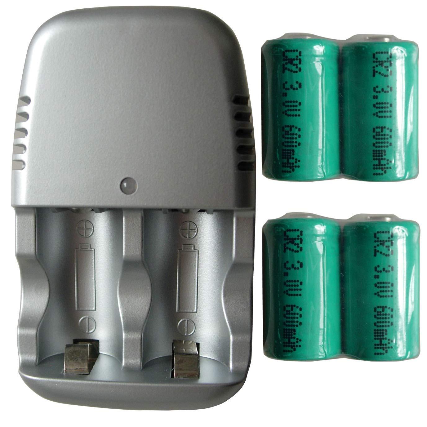 Amazon.com: 4 pilas recargables CR2 CR-2 15270 + cargador ...
