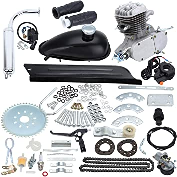 Sange 2 Stroke Pedal Cycle Petrol Gas Motor Conversion Kit Air Cooling Motorized Engine Kit for Motorized Bike (Plata, 80cc): Amazon.es: Coche y moto