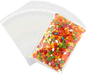 Tomnk 300pcs Plastic Cello Bags 6.3 x 9 Inches Resealable Cellophane Bags Treat Bags, Candy Bread Chocolate Jelly Packaging Bags