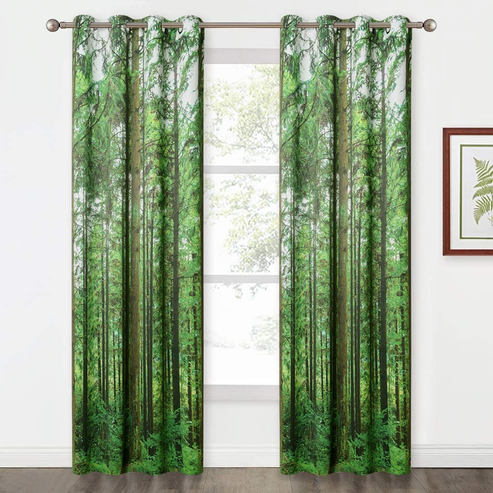 KGORGE Woodland Jungle Farmhouse Curtains - Tranquil Wild Rainforest Scenery Home Decor for Bedroom/Bathroom/Foyer/Dining Area Light Block Drapes, Set of 2, 52 inches Wide x 84 inches Long Each