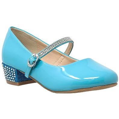 64ac68112 Amazon.com | SOBEYO Kids Dress Shoes Rhinestone Strap Low Heel Mary ...
