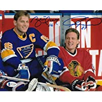 $44 » Beckett-BAS Jeremy Roenick and Brett Hull Dual Autographed Signed Chicago Blackhawks-St. Louis Blues All-Star Game 8x10 Photo Photograph