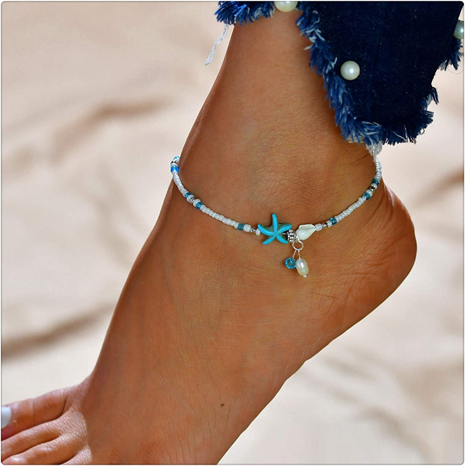Anchor Anklet Blue Ankle Bracelet Beach Jewelry Foot Bracelet Anklets For Women Summer Jewelry Blue Anklet Foot Jewelry