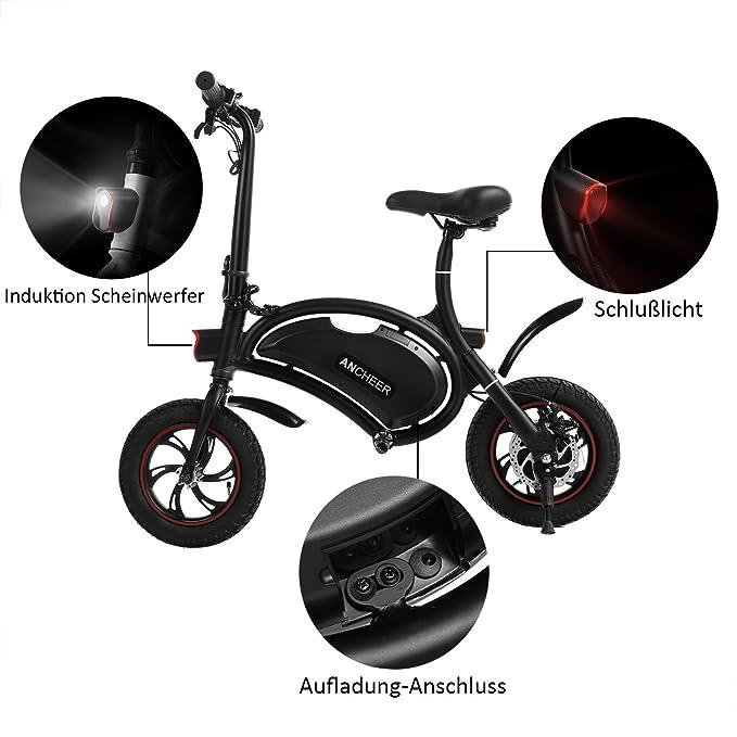Ancheer Bicicleta eléctrica plegable con rueda de 12 pulgadas, motocicleta eléctrica con alcance de 12 millas, marco plegable y ajuste de velocidad con ...
