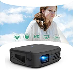 Mini WiFi DLP Projector, 3300 Lumen Support HD 1080P 3D Display Multimedia Video Wireless Airplay Pocket Projector with Smart Phone, Fire TV Stick, Roku for Home Cinema Outdoor Movie