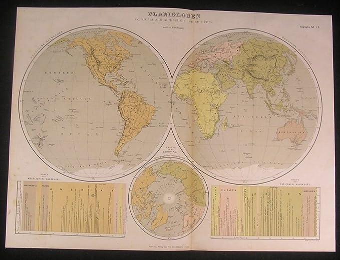 Amazon.com: World map in spheres c.1875 fine old vintage antique ...