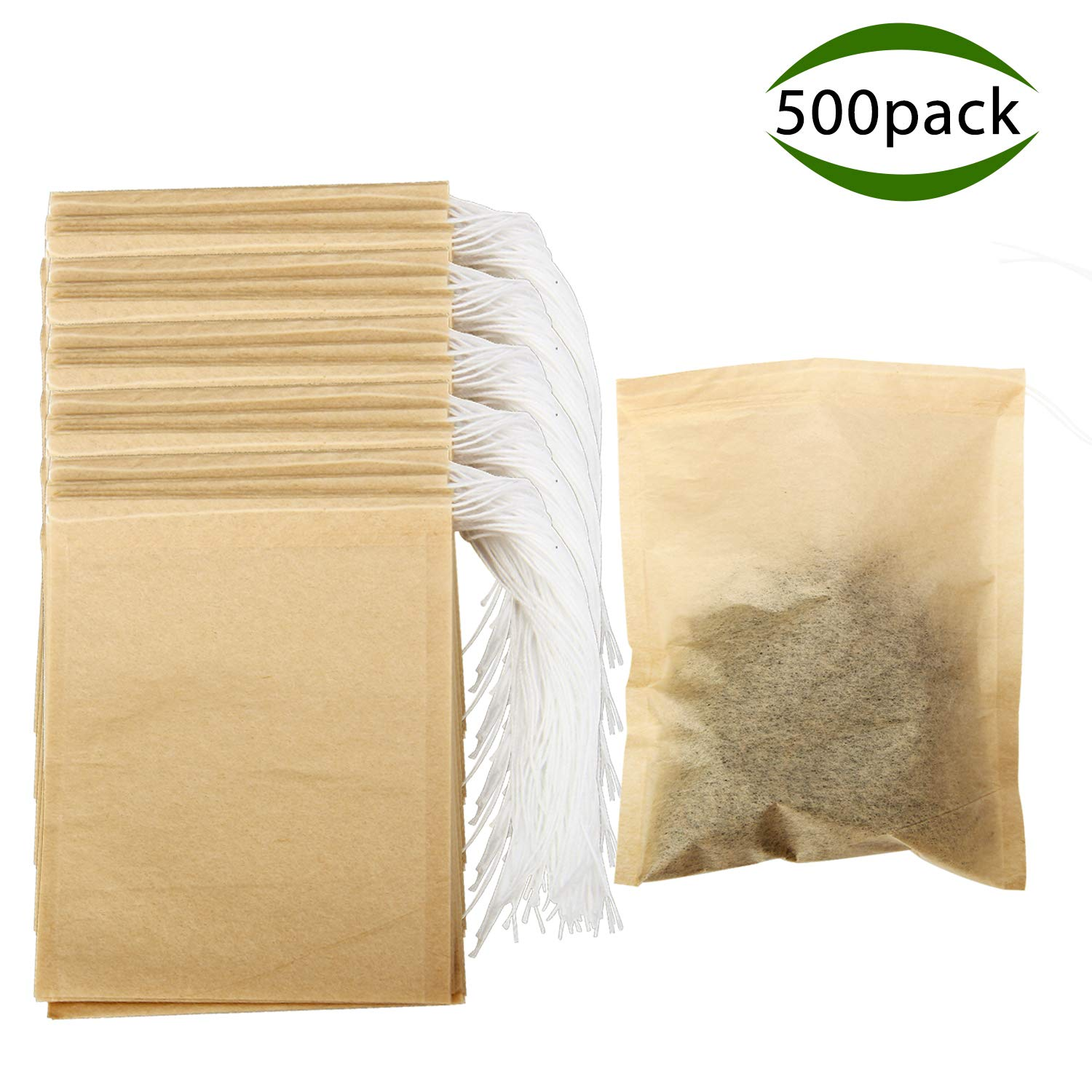 Tea Filter Bags, POZEAN Tea Bags for Loose Tea 500 pack Disposable with Drawstring and Safe Unbleached Natural, for Scented Tea, Herbal Medicine Package,Soup Package,etc (3.15×3.94 inch) by POZEAN