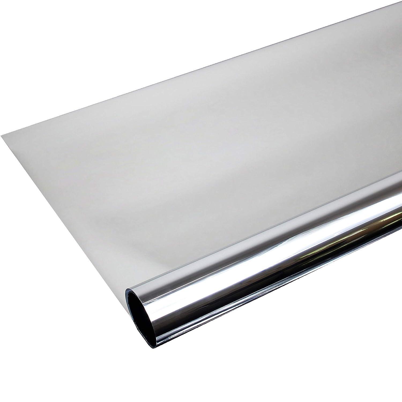 TipTopCarbon Fenster Spiegelfolie 2.000 x 152cm Silber Tönungsfolie Sonnenschutz Fensterfolie Spion Folie