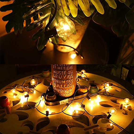 Zidwzidwei Guirnaldas Luces Exterior, 7.62m G40 Guirnaldas Luminosas, Luces Decoración Interior y Exterior a Patio, Bodas, Cafés, Jardín, Fiestas Ect (25 Bombillas + 5 Bombillas de Repuesto): Amazon.es: Iluminación