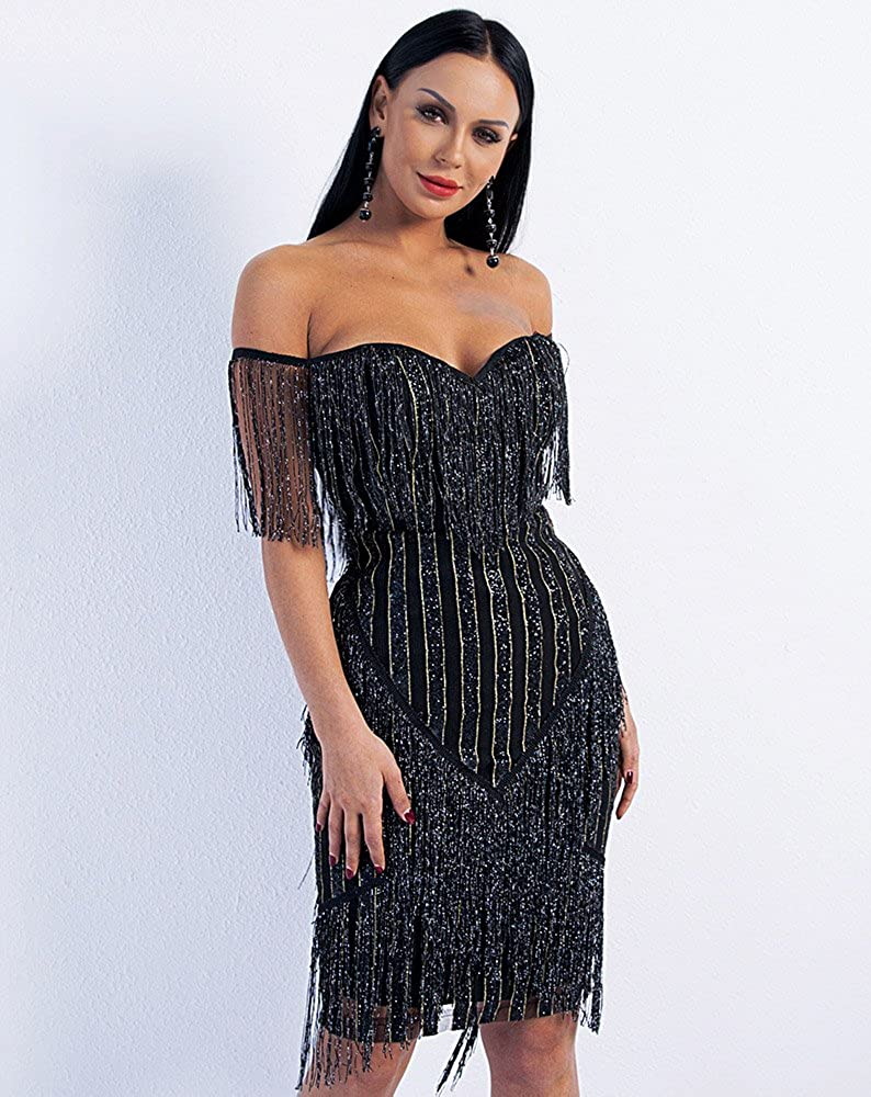 7f4403d2e60 Miss ord Women Off Shoulder Bustier Stripe Tassel Glitter Party Dress at  Amazon Women s Clothing store