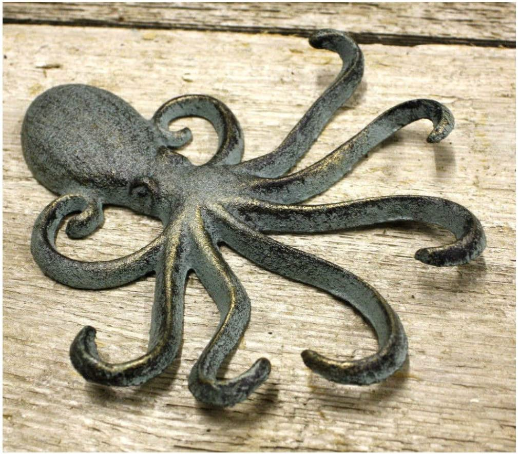 Key Rack Nautical 2 Heavy Cast Iron Octopus Towel Hanger Coat Hooks Hat Hook