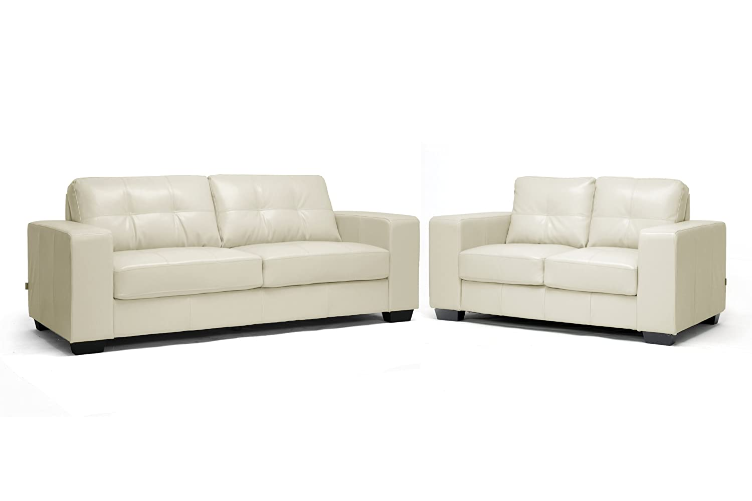 Whitney Modern Ivory Leather Sofa And Loveseat Set Hereo Sofa