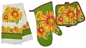 TopNotch Outlet Sunflower Decor - Potholder Towel Linen Set of 4 Pieces Sunflower Design Includes 1 Kitchen Towel 2 Potholders 1 Oven Mitt - Linen Sunflower Set - Kitchen Decor