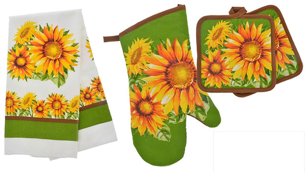 TopNotch Outlet Sunflower Decor - Potholder Towel Linen Set of 4 Pieces Sunflower Design Includes 1 Kitchen Towel 2 Potholders 1 Oven Mitt - Linen Sunflower Set - Kitchen Decor by TopNotch Outlet (Image #1)