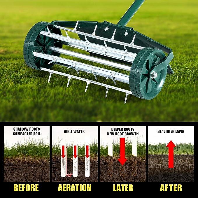 Heavy Duty Garden Grass Scarifier Yard Rotary Push Tine Spike Soil Aeration MONIPA-US Rolling Lawn Aerator Roller Gardening Tool w// 3 PCS Tubular Handles