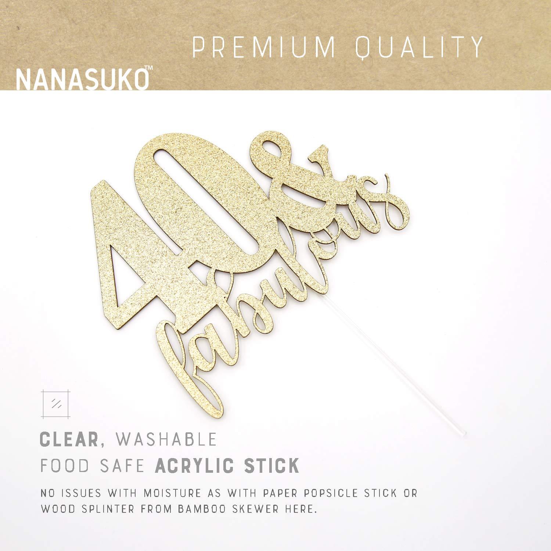 Premium quality Made in USA NANASUKO 40th Birthday 40 /& fabulous Double Sided Gold Glitter
