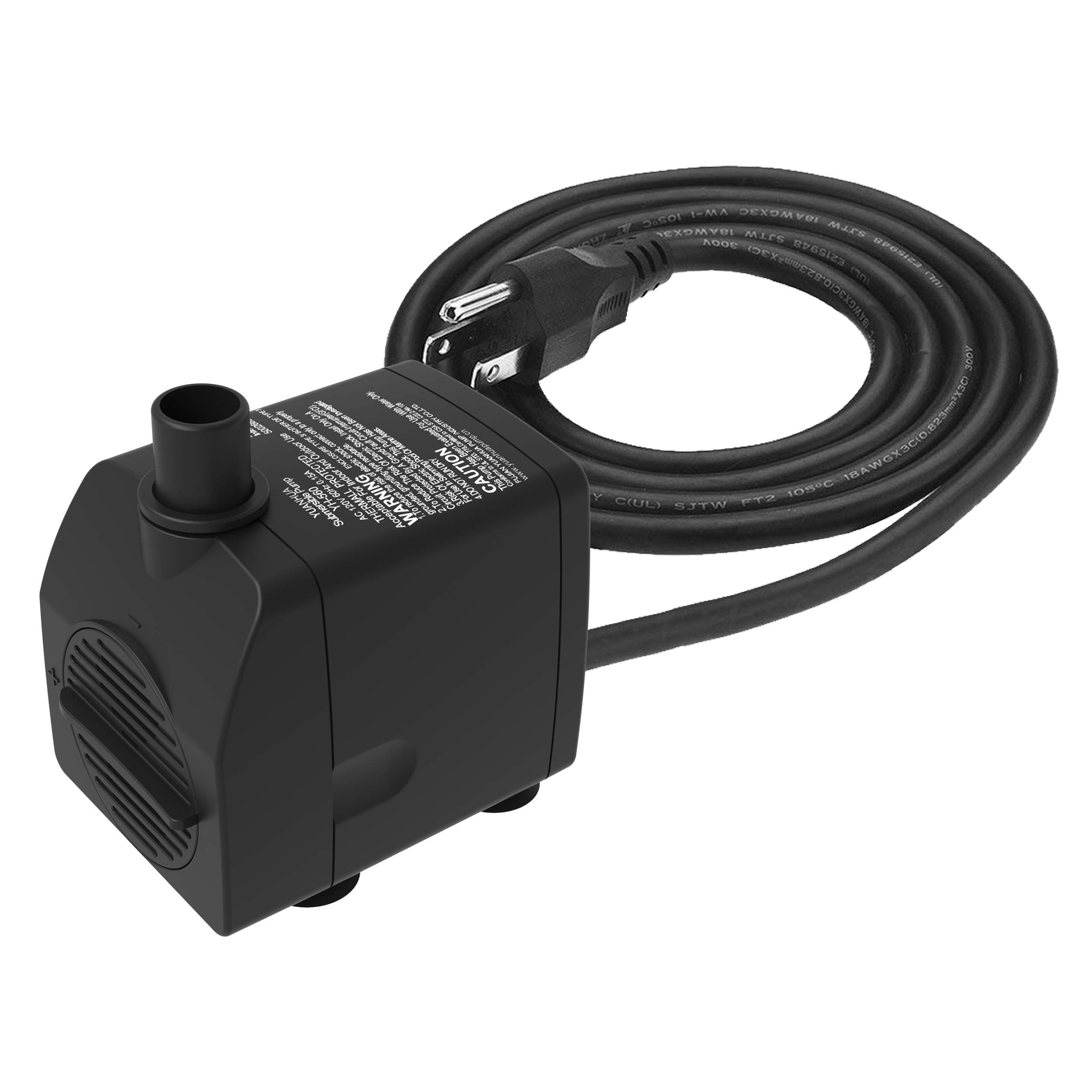 Submersible Water Pump Ultra Quiet with Dry Burning Protection160GPH for Fountains, Hydroponics, Ponds, Aquariums & More