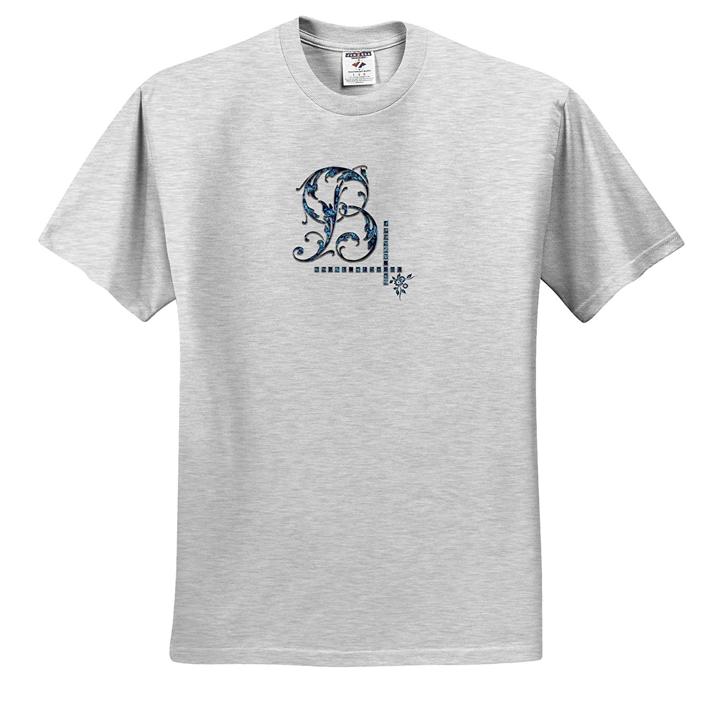 Monogram Image of Blue gem 3dRose Alexis Design Stylish Initial B T-Shirts Image of Blue Gemstone Impressive Monogram
